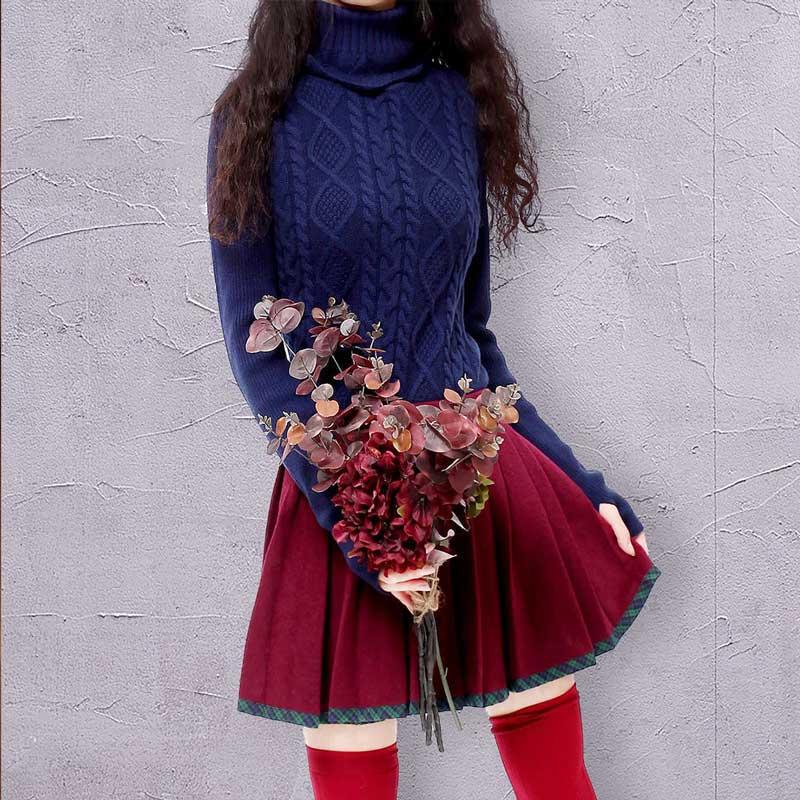 ARTKA Turtleneck Sweater Women 2018 Winter Sweater Female Warm Pullover Ruffle Knitwear Women Wool Sweater With Gloves YB12421D-in Pullovers from Women's Clothing    1