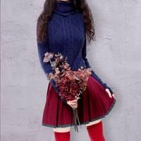 ARTKA Turtleneck Sweater Women 2018 Winter Sweater Female Warm Pullover Ruffle Knitwear Women Wool Sweater With Gloves YB12421D