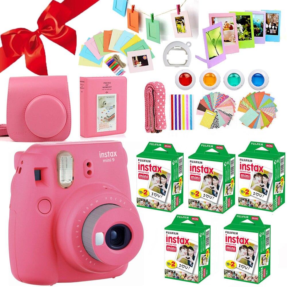 Fujifilm Instax Mini 9 Camera Flamingo Pink Fuji 100 Sheet Instant Mini White Film Photo Paper