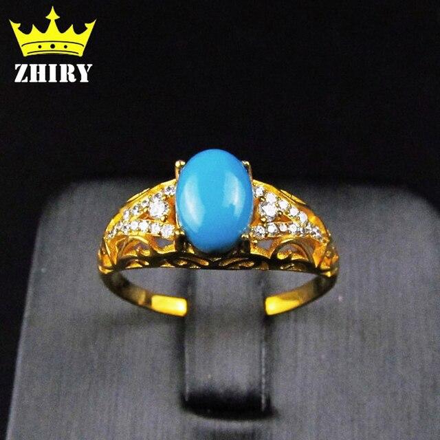 634ab95b88a Véritable Bleu Turquoise bague pierre naturelle gemme massif véritable 925  en argent sterling femme bijoux anneaux
