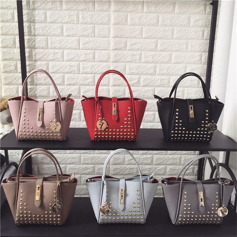 12 Style Color Luxury Fashion Rivet Women Purses and Handbags High Quality Solid Shoulder Messenger Bags