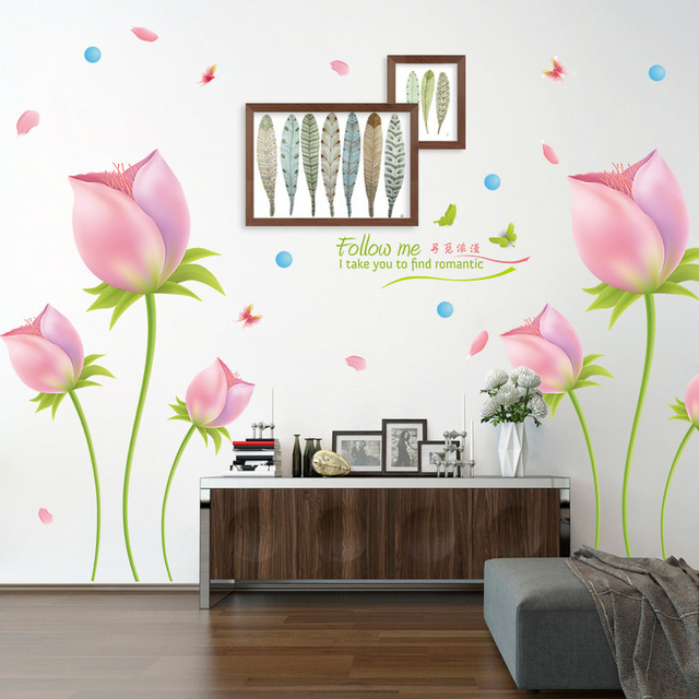 romantic pink tulip wall sticker pvc material removable wall decals