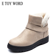 E TOY WORD Women Boots winter warm snow boots flat heel womena winter shoes big sizes 35-43 ankle boots women short
