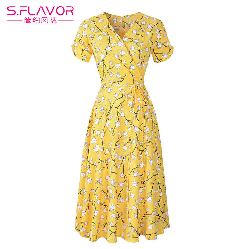S. SMAAK Bloemenprint Zomerjurk 2019 vlinderdas kruis ontwerp korte mouw V-hals jurk vrouwen Elegante Retro Party A-lijn Vestidos
