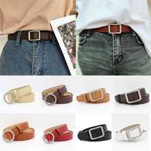 Fashion Womens Accessories Circle Pin Buckles Belt Golden Square Buckle female deduction pants wild belts for girls Stylish