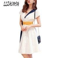 Women Fashion Sexy Bodycon Dress 2018 Summer Vestidos Patchwork Contrast Color Short Sleeve V Neck A