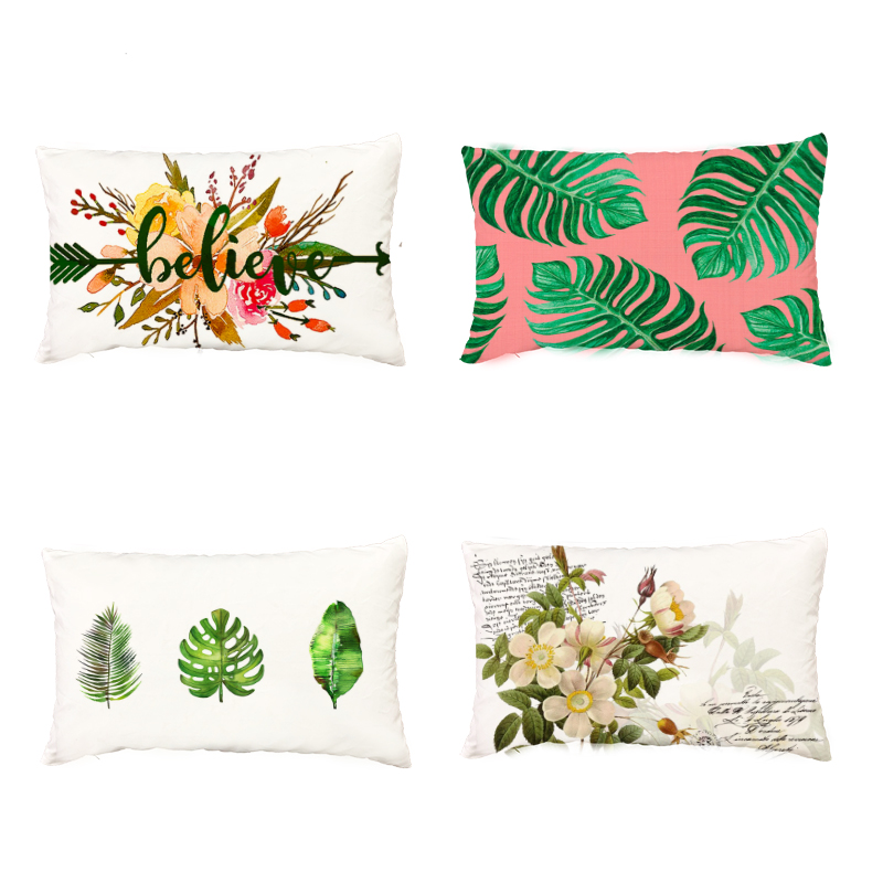 Popular Tropical Rain Forest Plants Monstera White Cushion Covers Hummingbird Butterfly Home Decor Peach Skin Throw Pillow Cases