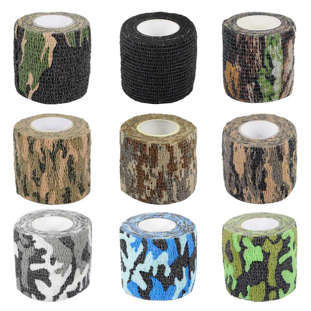 Tactical Camo Stretch Tape Bandage Waterproof Camping Hunting Camouflage Tape Military Outdoor Shooting Gun Paintball Accessory