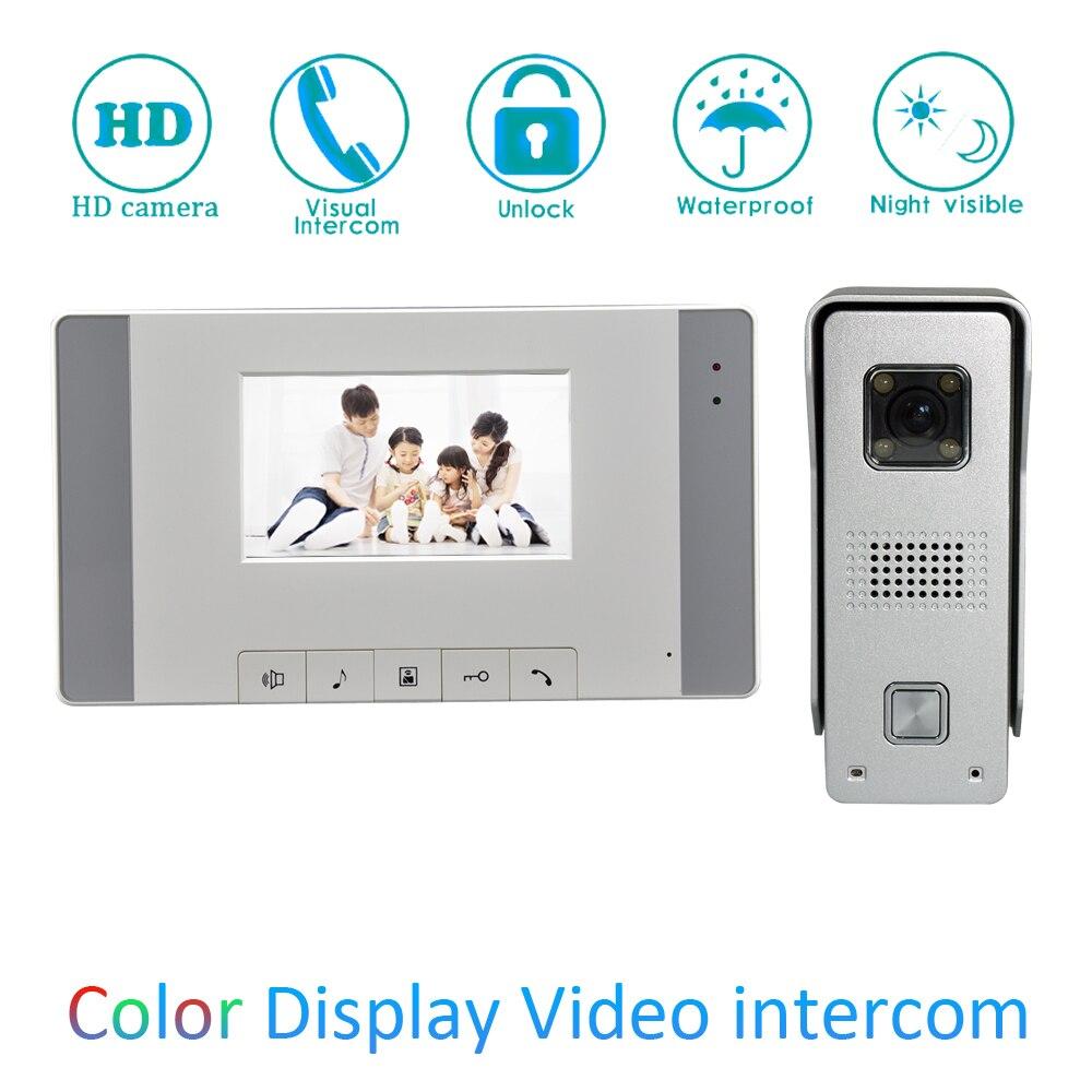 Mur monté 4 ''en plastique LCD écran intérieur maison utilisation vidéo porte téléphone visiteur parler-porte arrière déverrouiller sonnette interphone système