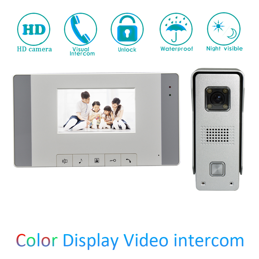 Wall Mounted 4 plastic LCD Screen Indoor House use Video Door Phone Visitor Talk-back Door Unlock Doorbell intercom systemWall Mounted 4 plastic LCD Screen Indoor House use Video Door Phone Visitor Talk-back Door Unlock Doorbell intercom system