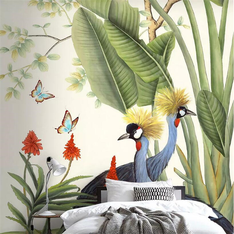 Hand painted tropical plants background wall professional production murals wholesale wallpaper custom poster photo wall in Fabric Textile Wallcoverings from Home Improvement