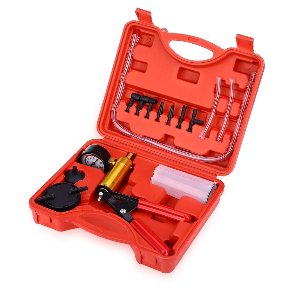 High Quality Car Auto Hand Held Vacuum Pistol Pump Brake Bleeder Adaptor Fluid Reservoir Tester Kit 2 in 1 Hand Tool Set vacuum pump inlet filters f006 1 rc2 1 2