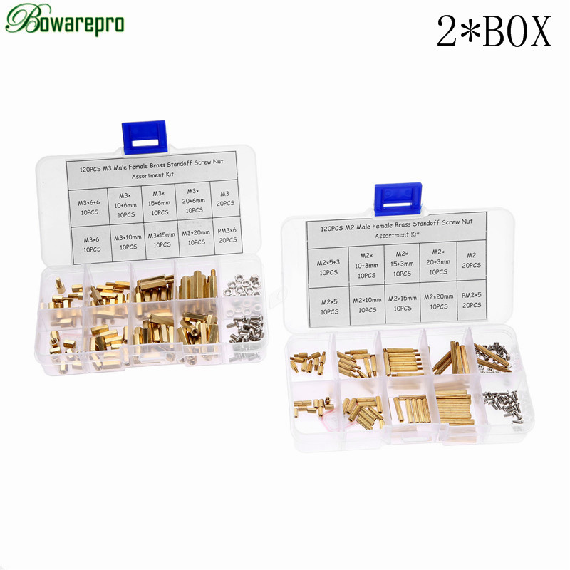 bowarepro 240PCS M2 M3 Hex Male Female Thread Brass Spacer Standoffs/ Screw /Hex Nut Assortment set Kits with 2*Plastic Box m2 3 3 1pcs brass standoff 3mm spacer standard male female brass standoffs metric thread column high quality 1 piece sale
