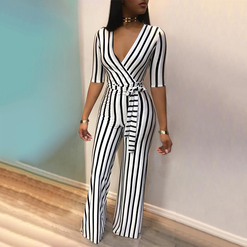 2018 Fashion Deep V One Piece Striped Women Overalls Waist Belted Wide Leg Office Sexy Bodysuit Bodycon Summer Elegant Jumpsuit