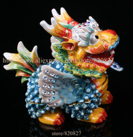 Collectible Fengshui Dragon Statue Trinket Box Unique Dragon Souvenir Home Office Decoration Business Gift Dragon Metal Crafts
