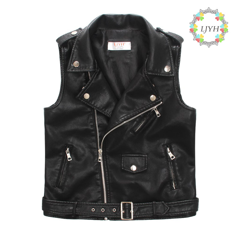 New spring autumn little boys soft leather vest waistcoats kids PU sleeveless jackets&coats kids boys buckle biker vest coat