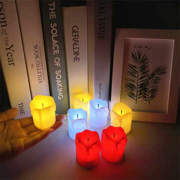 12pcs/set LED Tea Light Candles Household Battery-Powered Flameless Candles Halloween Party Decor Church and Home Decoartion