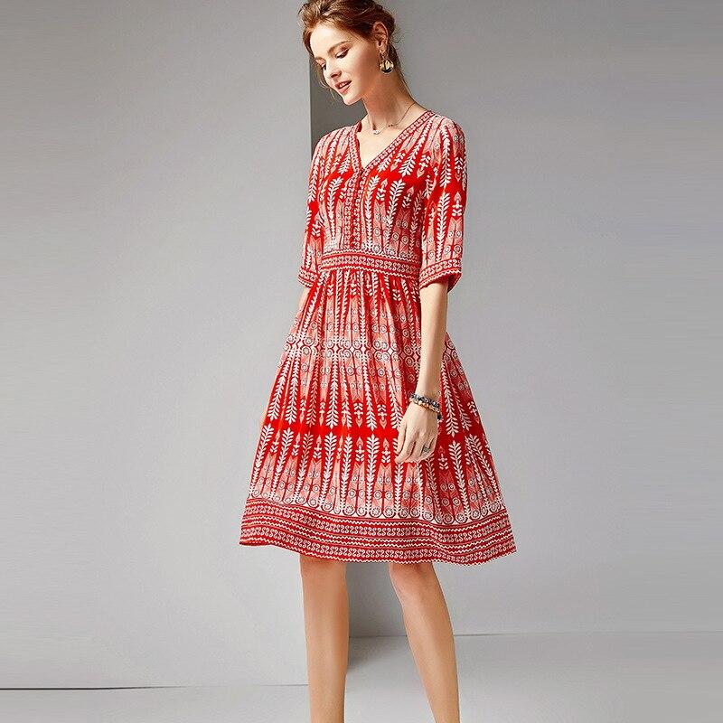 Mujer De Donne Della Mezzo Fiesta Delle 100 R10422 Seta Naturale Indie Rosso Folk Vestidos Di Shuchan V Noche Con Stampa A Vestito Manicotto Scollo Abbigliamento Hqw188a