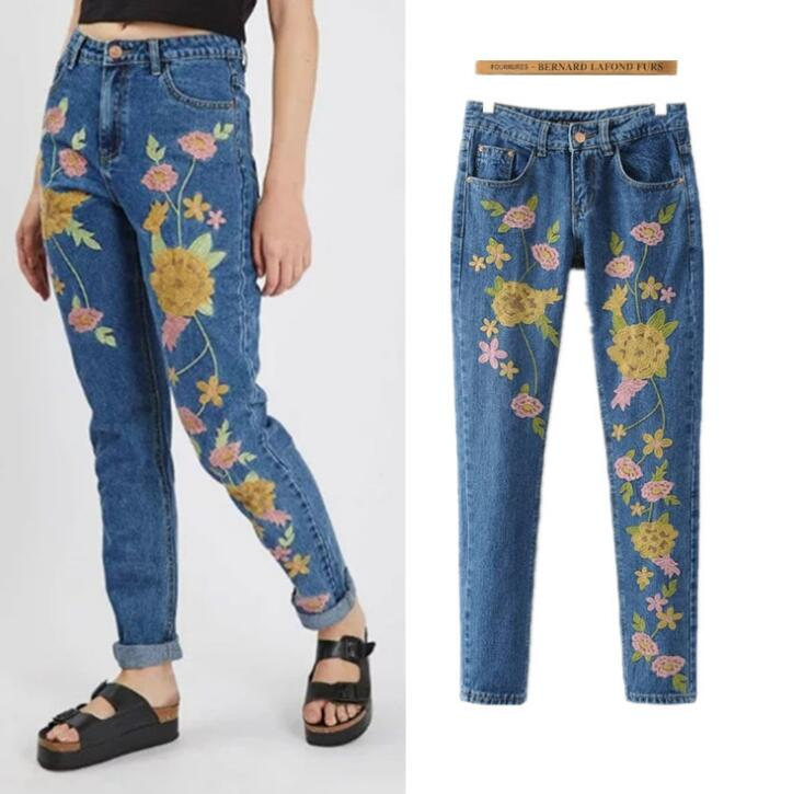 New arrival flower embroidery jeans fashion woman's denim pencil pants hot sale new arrival men cutout jeans fashion embroidery pencil trousers
