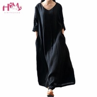 Spring Vintage Women Cotton Linen Long Dress Japanese Mori Girl Big Size Retro Robe Dresses For