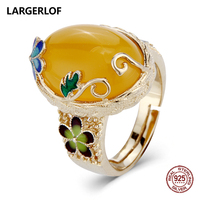 LARGERLOF Ring Silver 925 Women Agate Adjustable Ring Handmade 925 Silver Jewelry Silver Ring JZ50013