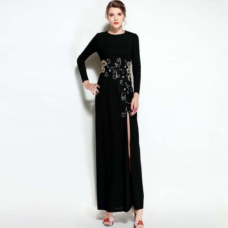 New Arrival 2018 Womens O Neck Long Sleeves Embroidery Beaded Front Split Elegant Maxi Party Prom Runway Dresses