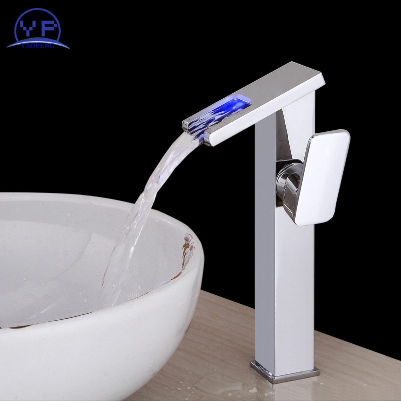 YAOPENG 3LED Color Changing waterfall tap Bathroom Basin copper Faucet hot and cold water mixer Vanity Sink Mixer single handle led color changing brushed nickle basin faucet hot and cold water faucet waterfall spout dual handle tap