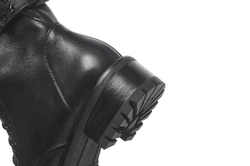 Chất lượng cao làm bằng tay màu đen màu da bò med chunky gót toe vòng buckle vành đai đinh tán zip kích thước lớn xe gắn máy khởi l66