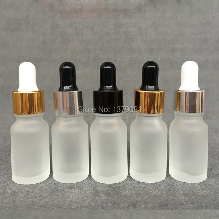10ML Frosted Glass Bottles With Dropper Mini Sample Vial Empty Essential Oil Bottle Gold Collar Black