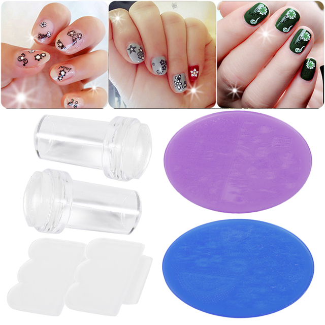 3pcs Nail Art Kit Stamper Stamping With Cap Scraper Polish Image