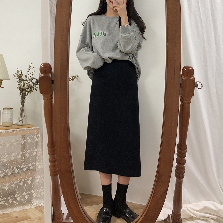 HTB1Cxn1XsfrK1RkSmLyq6xGApXaA - Solid Black Brown Mid Calf Women Skirt Vintage Spring Summer Straight Skirt Long Office Lady High Waist Girls skirts Femininas