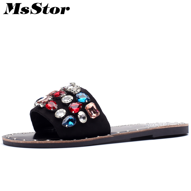 MsStor Women Round Toe Open Toed Flat Sandals Fashion Crystal Colorful Sandals 2018 Summer Metal Decoration Sandals Women Shoes msstor round toe open toed women sandals fashion crystal high heels women sandals new summer wedges high heel sandal woman shoes
