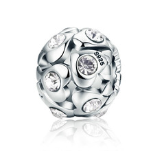 925 Sterling Silver Heart Luminous AAA Cubic Zircon Beads Fit Pandora Bracelet Necklace Valentine Day Gift SCC527