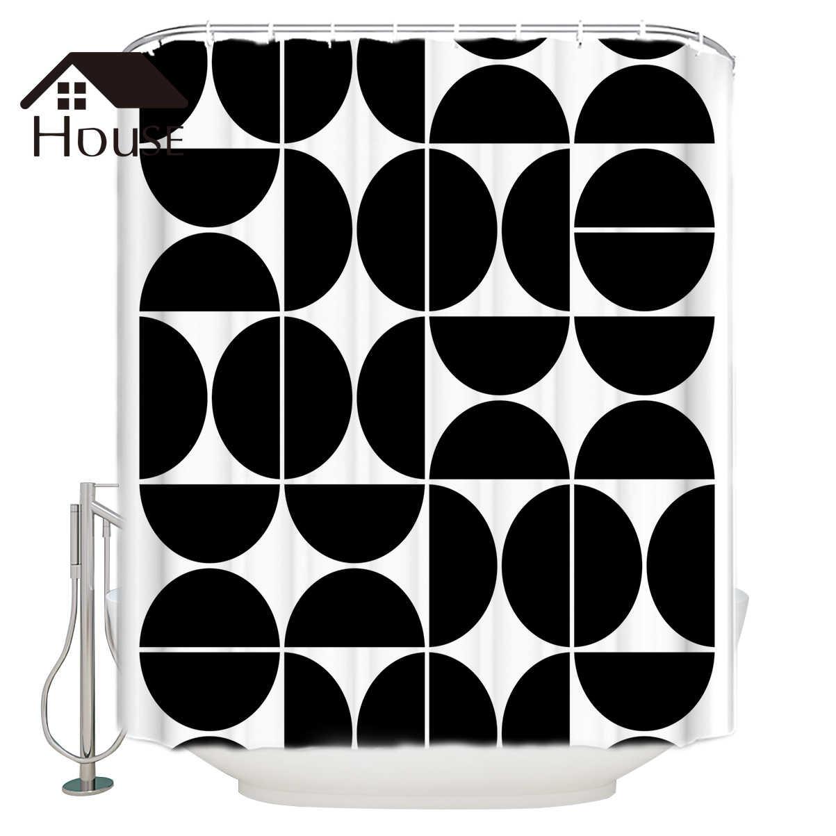 Image of: Bighouses Shower Curtain Mid Century Modern Geometric 04 Black Fabric Shower Curtain Hooks Shower Curtains Aliexpress