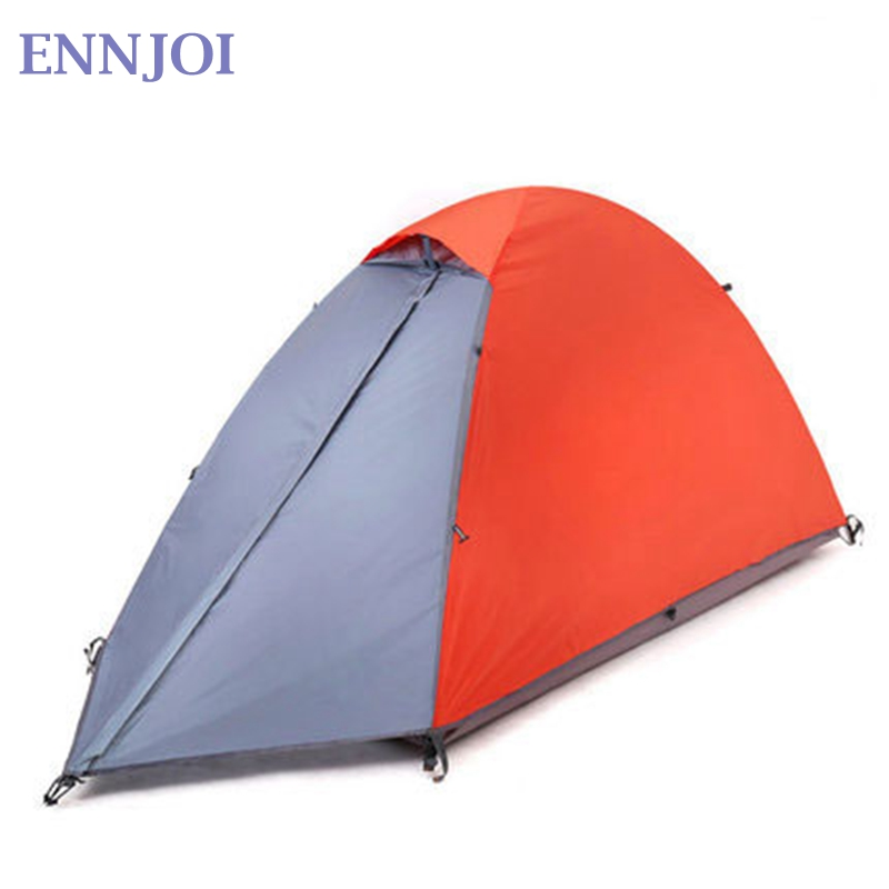 Single Person Tent Double Layer Waterproof Windproof Outdoor Camping Hiking Travel Play Tent Aluminum Pole Camping Tent flytop high quality 3 person double layer rainproof windproof outdoor camping tent with snow skirt 210 50 180 50 115 cm
