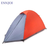 Single Person Tent Double Layer Waterproof Windproof Outdoor Camping Hiking Travel Play Tent Aluminum Pole Camping Tent