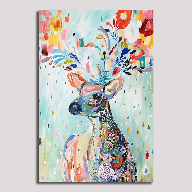 Frameless Art Flower deer Picture Canvas Painting Oil Painting Print Naturally Home Decor Art Wall For