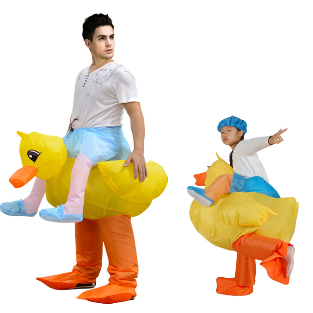 Christmas Carnival Costume Inflatable Yellow Duck Costume for Kids Animal Cosplay Blow up Dress Halloween Costume for Women Men