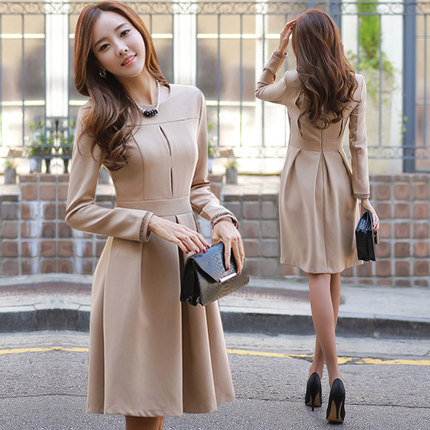 Plus size new fall and winter elegant style casual European,style women\u0027s  round neck Slim waist A,line dress women\u0027s dress