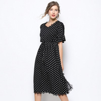 Elegant Black Lace Dress Summer Dresses Women 2019 New Fashion Casual Clothes Female Sexy White Dot Long Dress Plus Size 5XL
