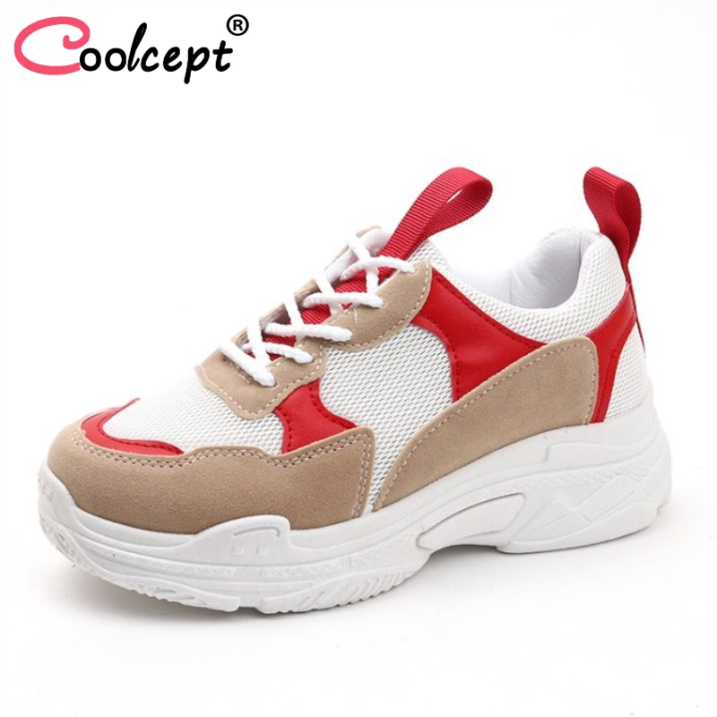 Coolcept Fashion Women Thick Bottom Shoes Breathable Lace Up Colorblock Sneakers Daily Trifle Shoes Women Footwear Size 35-40