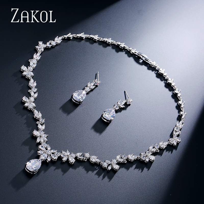 ZAKOL Fashion Cluster Flower Cubic Zirconia Crystal Women Earrings Necklace Set For Brides Wedding Costume Jewelry Set FSSP010