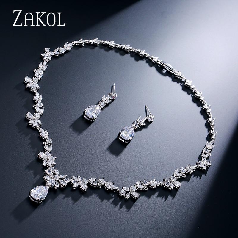ZAKOL Mode Cluster Fleur Cubique Zircone Cristal Femmes Boucles D'oreilles Collier Ensemble Pour Les Mariées De Mariage Costume Ensemble de Bijoux FSSP010