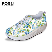 FORUDESIGNS Floral Printed Woman Casual Height Increasing Shoes Ladies Pretty Flower Breathable Lace-up Platform Swing Shoes
