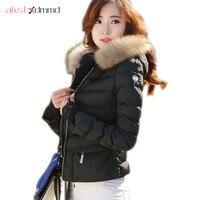 Women Slim Short Cotton Jacket Coat New Arigos Mujer Lace Cuff Armband Raccoon Fur Collar Hooded Padded Jacket Spring Coat LH494