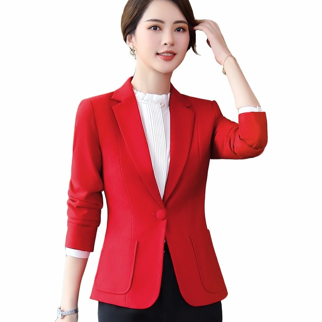 b5d0d800220fb office ladies plus size 5XL work wear coat women blazer black yellow red  brown winter elegant formal long sleeve slim jacket
