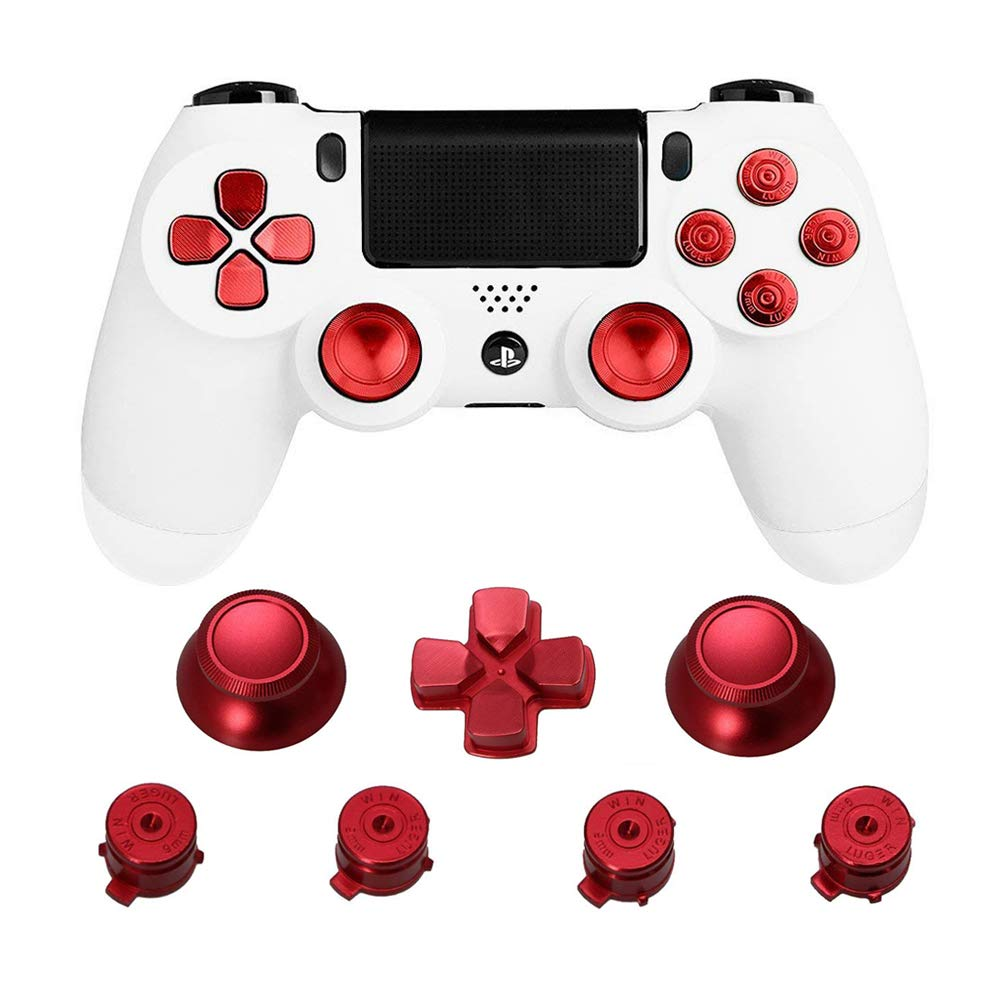 Metal Thumb Grips for PS4 Controller Aluminum Replacement ABXY Bullet Buttons Thumbsticks Chrome D-pad for Sony Playstation 4