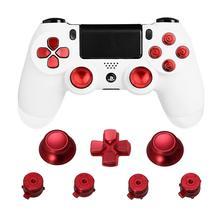 Metal başparmak sapları PS4 denetleyici alüminyum yedek ABXY mermi düğmeleri Thumbsticks krom d pad Sony Playstation 4