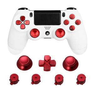 Image 1 - מתכת אוחז אגודל PS4 בקר אלומיניום החלפת ABXY Bullet Thumbsticks כרום d pad עבור Sony פלייסטיישן 4