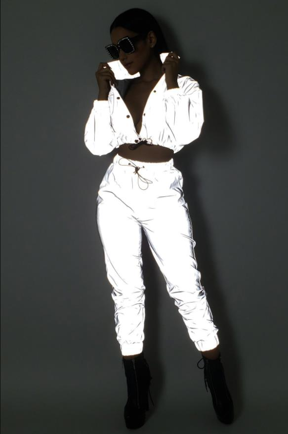 Reflective Two Piece Set Drawstring Crop Top And Pants Hip Hop Club Festival Outfit Tracksuit Joggers Suit